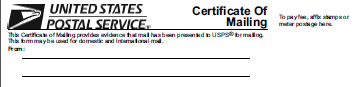 USPS Certificate of Mailing